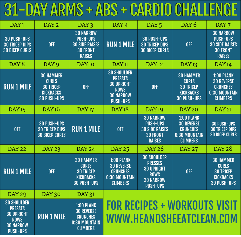 31-Day Arms, Abs & Cardio Fitness Challenge