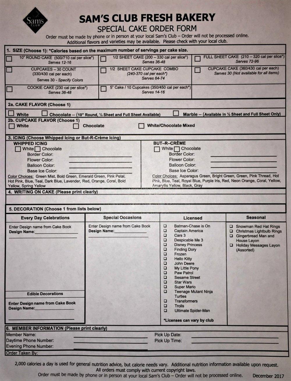 Sam S Club Sheet Cake Order Form