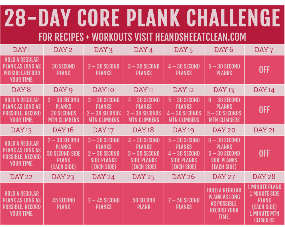 February 28-Day Core Plank Challenge