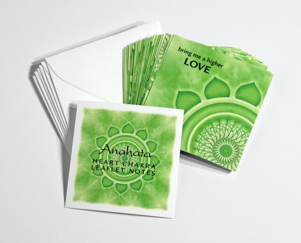 HEART   CHAKRA LEAFLET NOTES - $18  Tap into the heart's energy and connect deeply with something greater than yourself with our tiny Heart Chakra LeafLet Notes.