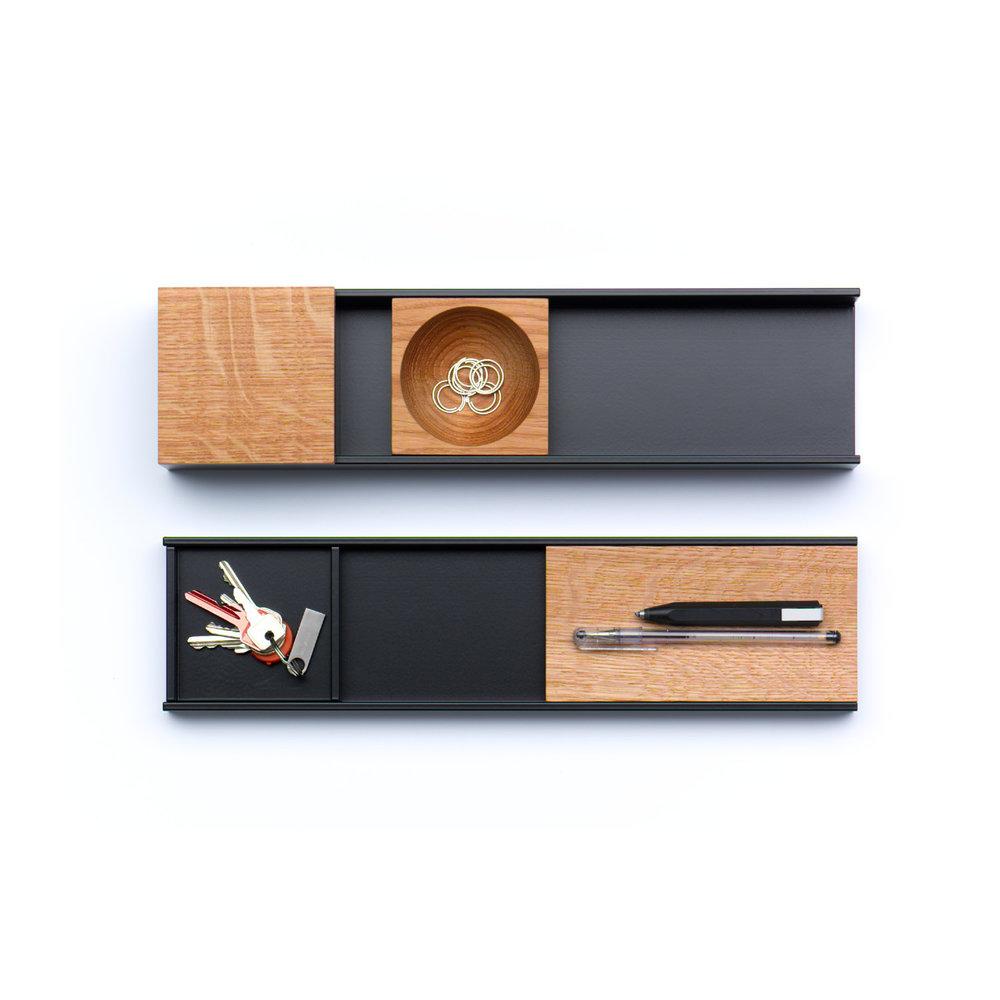 TECTA Meterware  (wie abgebildet)  oben: Ablagefläche, Ablageschale + Deckel, Schale rund CHF 300.00  unten: Ablagefläche, Ablageschale, Stiftablage CHF 245.00