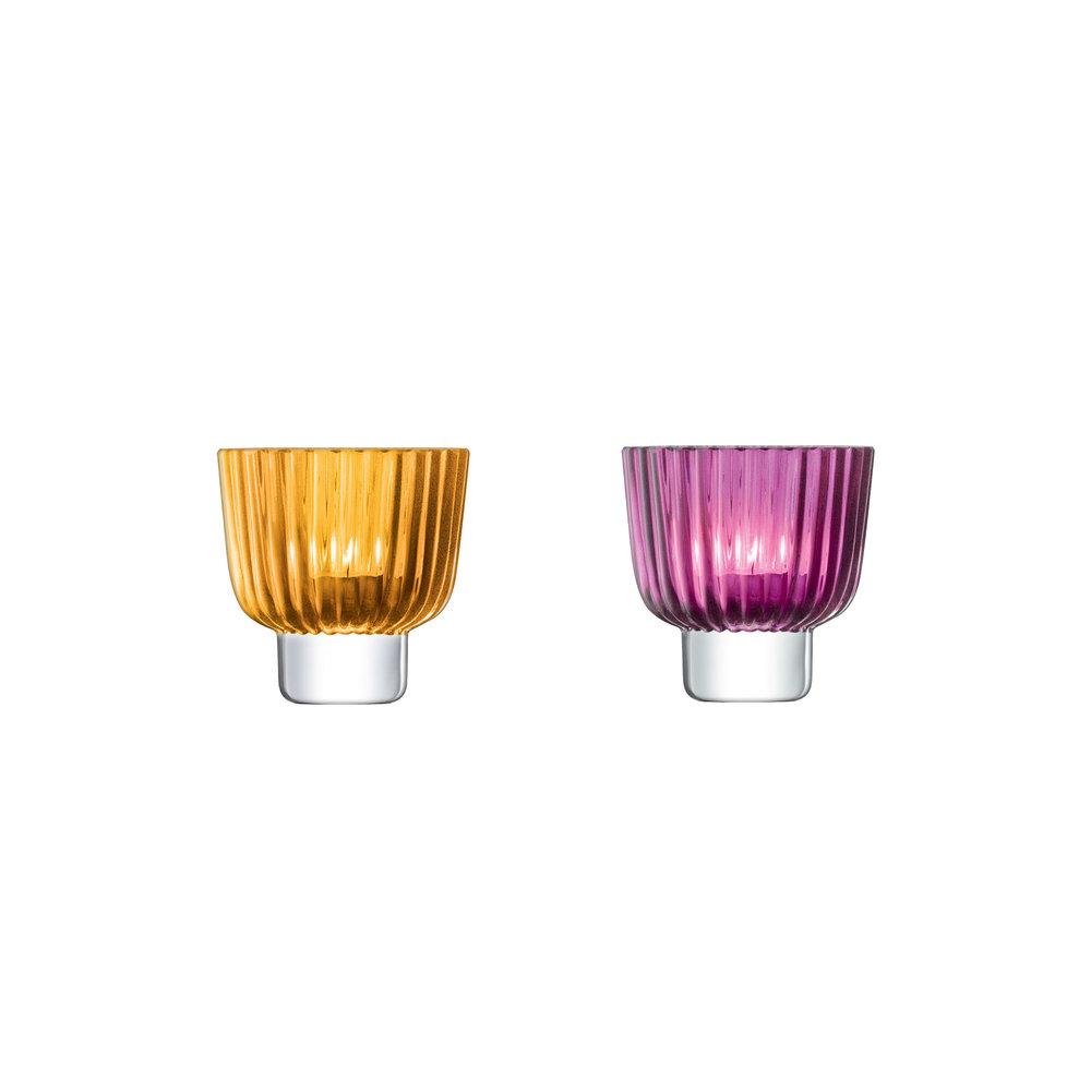 Teelichthalter PLEAT , bernstein / erikarot CHF 32.00 pro Stück