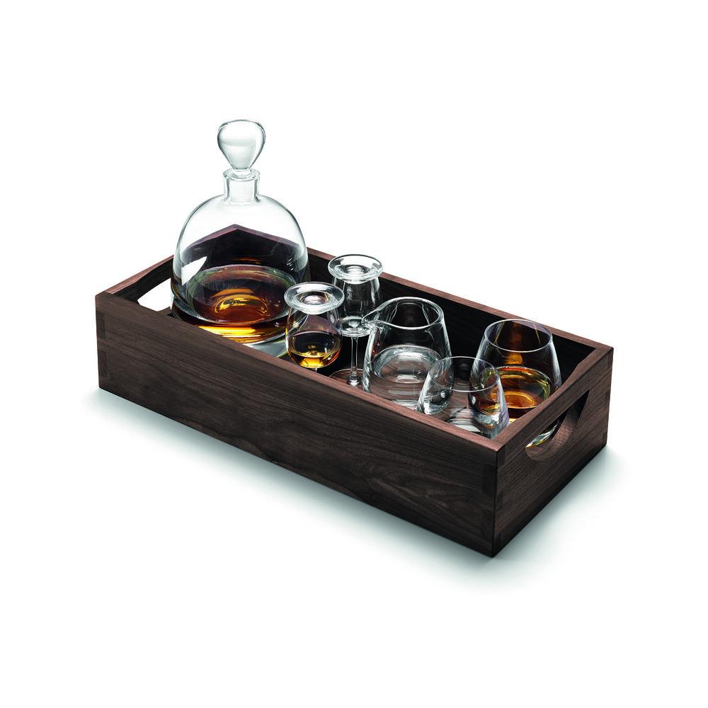 Whisky Set ISLAY  CHF 350.00 1 Decanter, 2 Tumbler, 2 Nosing Gläser, 1 Krug, Nussbaum Tablett und Untersetzer