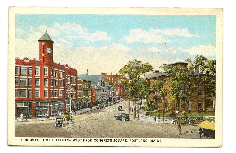 Congress Square postcard showing Charles Alexander house on corner of High and Congress.jpg