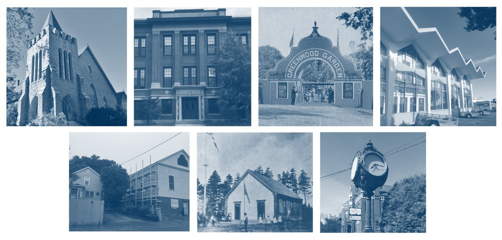 Top Row (Left to Right) Dunn Memorial Church, Mahoney School, Peaks Island Amusement District, and Portland Motor Sales Building.  Bottom Row (Left to Right) 19th Century African American Historic Resources of Portland, Bowery Beach School, and Hay & Peabody's Seth Tomas Clock.