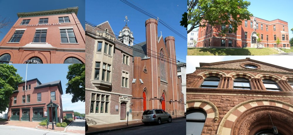 Clockwise from top left: Grand Trunk Office Building, Chestnut Street Church, St. Hyacinth School, Baxter Library Building, and Arbor Street Fire Station - all restored in part with help from the federal historic tax credit program.