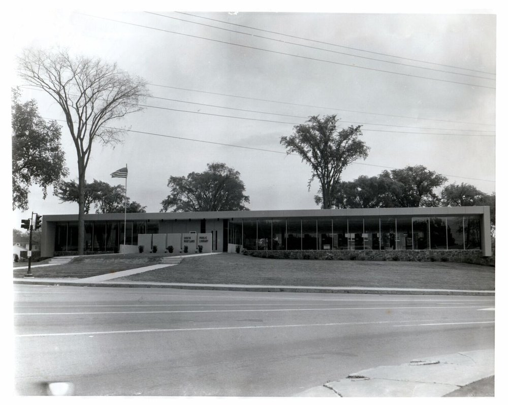 South Portland Public Library by architect John Leasure, captured by Michael Eastman in the 1960s