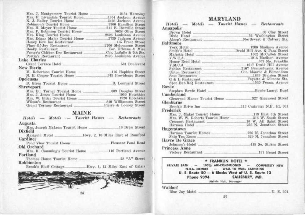 The Maine listing in the 1956 Green Book included the Thomas Tourist Home near Union Station.