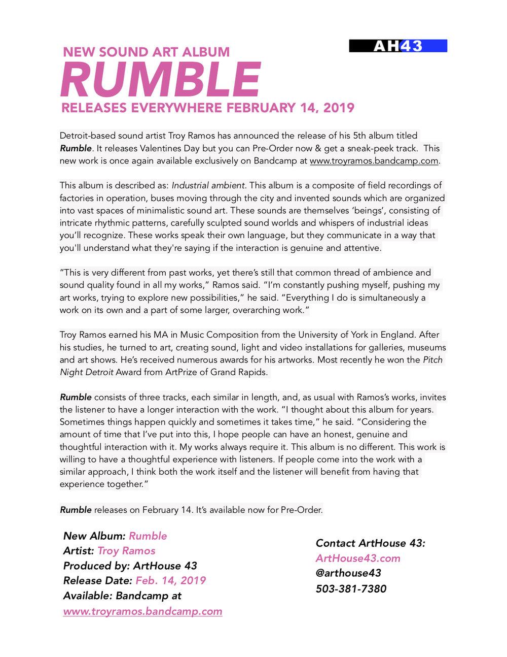 Rumble Album Press Release Troy Ramos ArtHouse 43 2019.jpg