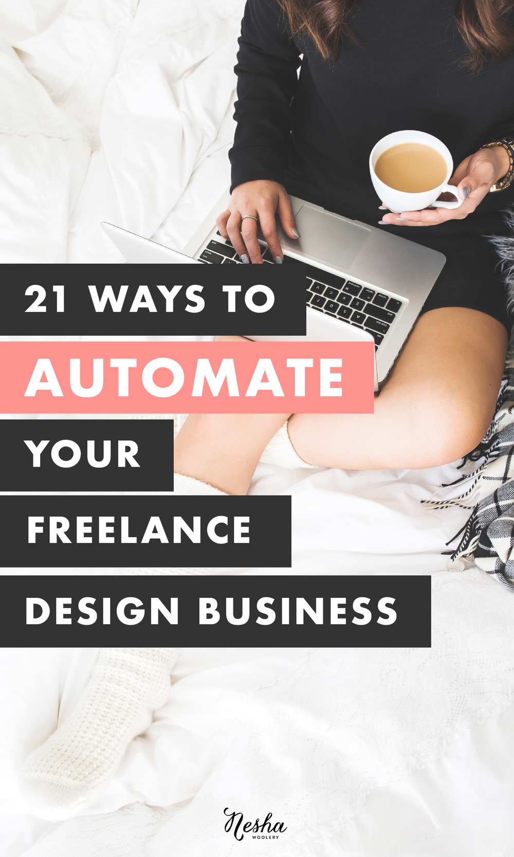 21 ways to automate your design business by Nesha Woolery. Is your business stressing you out? Does it feel like you never get through your to-do list? Like there's not enough time in the year? Here's a list of 21 things you can automate your design business RIGHT NOW! Click through to learn more + sign up for the free course!