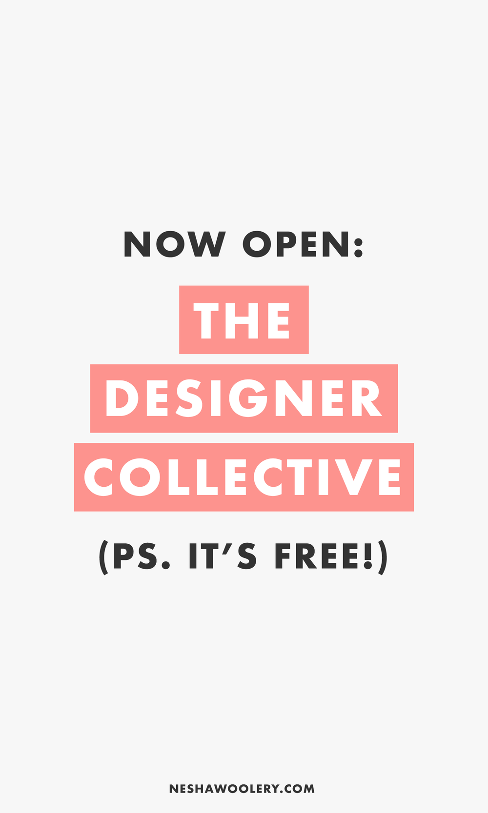 Want to make friends with other freelance designers? Come and join us in The Designer Collective! It's a FREE Facebook community hosted by me (Nesha Woolery) where you can connect with other freelance designers and share love, support and friendship. Click through to join!