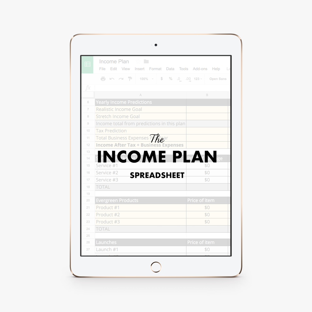 The Income Plan - The Income Plan Spreadsheet is a 3-page spreadsheet where you'll break down exactly how you're going to hit your income goal for the year.Learn More ➝