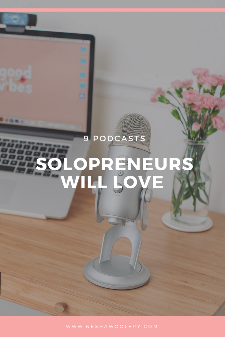Click on this pin to see my top 9 recommendation of podcasts that you will love if you are a creative entrepreneur who wants to work smarter, not harder, so you can grow a profitable and fun business. #Business #Podcast #Solopreneurs #Design #Freelance