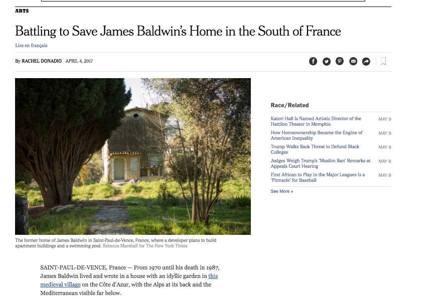 screenshot from New York Times article chronicling the battle to preserve Baldwin's home.