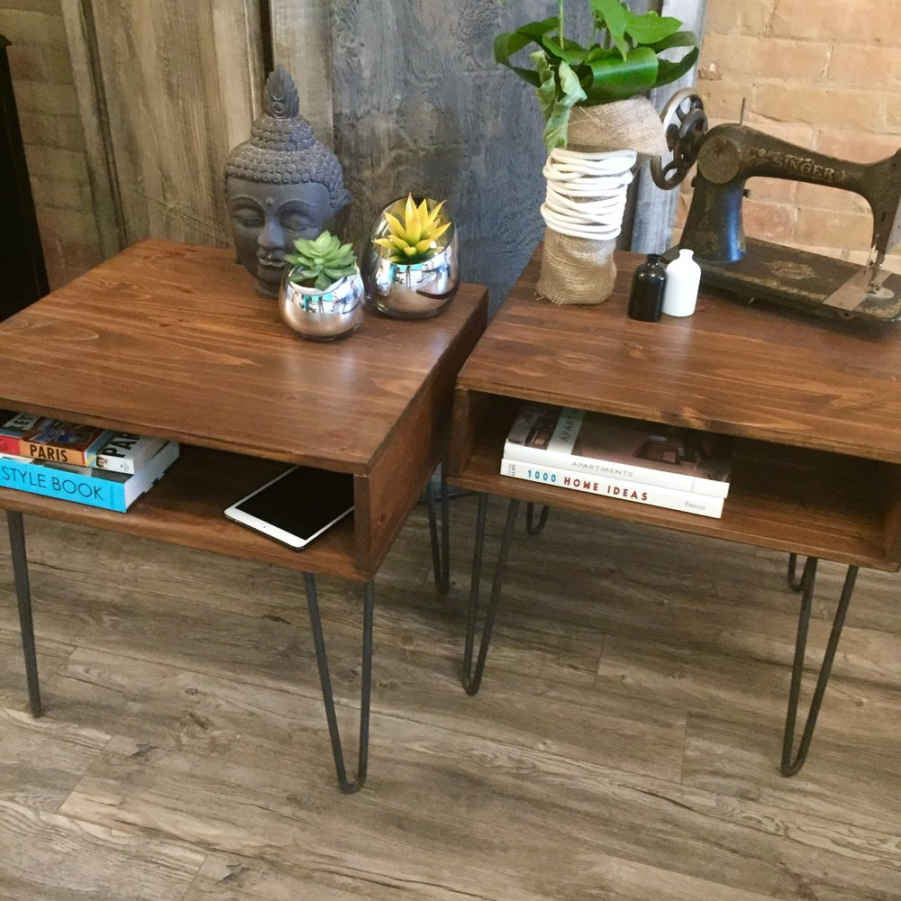 Hairpin Side Tables With Storage