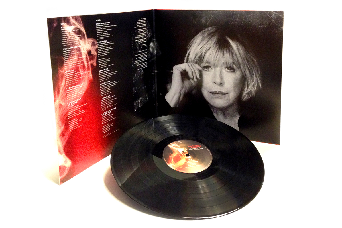 "Web-only vinyl pre-orders for Marianne Faithfulls Give My Love To London ship November 8, Hear the entire album on NPR Music First Listen.     Give My Love To London   is set for release next week (11/10) in the U.S. & Canada,  and you can now stream the entire album right now over at   NPR Music First Listen  . Oh, and make sure to read the kind words by Ann Powers….   ""Twenty albums in, Marianne Faithfull can still spin the kind of tale that silences a room, then fills it with something unexpe  cted.""    O.K., so now some vinyl news:   Due to manufacturing timing and an incredibly full schedule for EVERYONE that presses - Vinyl shoppers will unfortunately have to wait until December 9 for Give My Love To London to hit stores.   The GOOD news (two-fold):    Easy Sound has a limited stock  from France and will be able to ship all pre-orders starting November 8. This version (very few remain), comes on 180 g. vinyl, in a gatefold jacket, and includes the CD.   For everyone else, we'll be announcing pre-order details for indie record stores and with that you'll also find out how to get your hands on a super cool 7"" playable 'flexi' post card (limited to only 1,000 pressed)."