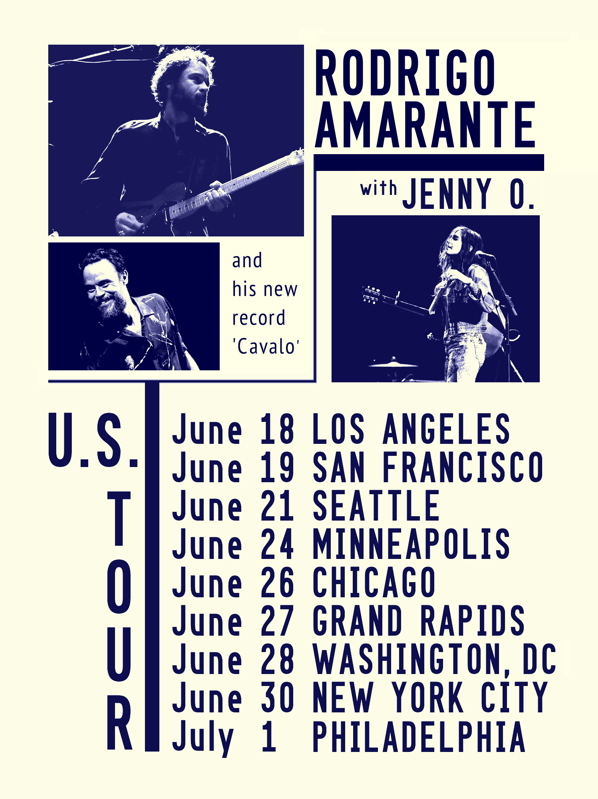 The Rodrigo Amarante U.S. debut rolls steady through the U.S. with the wonderful Jenny O as support.   West Coast shows have been to great crowds, Great Lakes dates they're making new friends, Chicago tonight, then the East Coast we'll see you soon.    For Tickets and Venue info visit:  http://rodrigoamarante.br.com