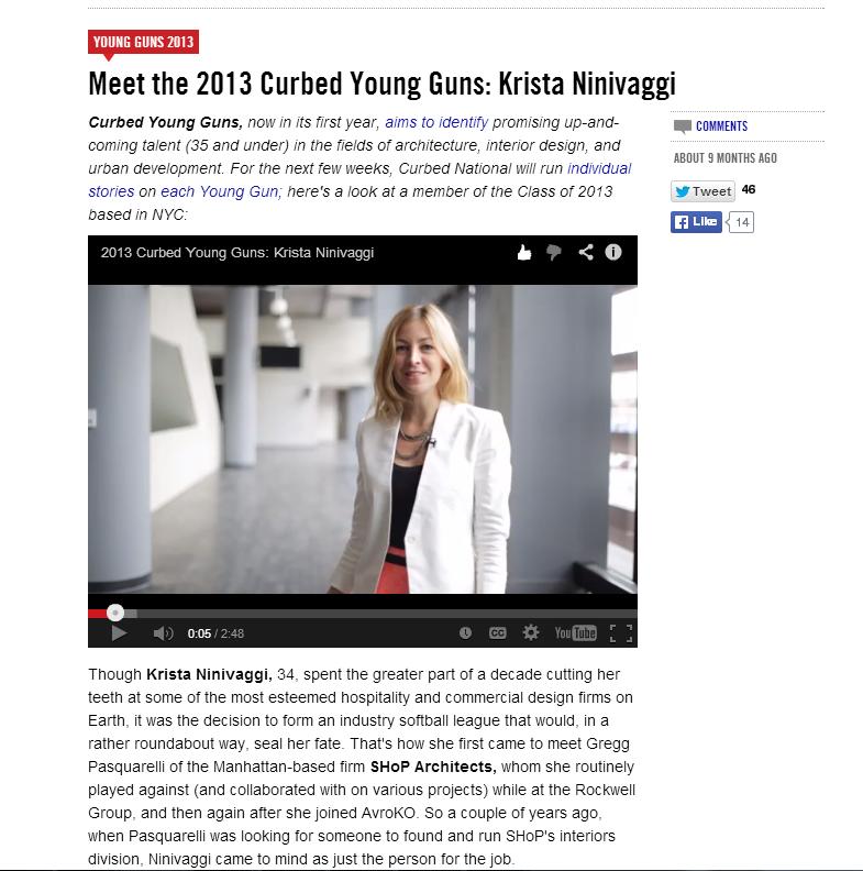 Curbed.com, Young Guns Award Recipient, 2013