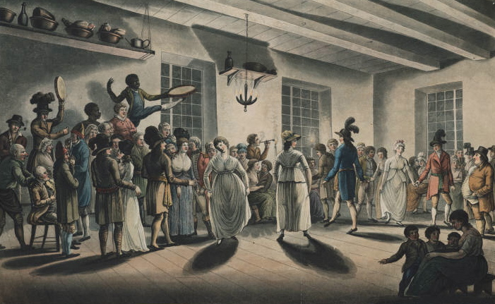 """Minuet of the Canadians"" (George Heriot, 1807) Dance with white fiddler accompanied by white and black tambourine players"