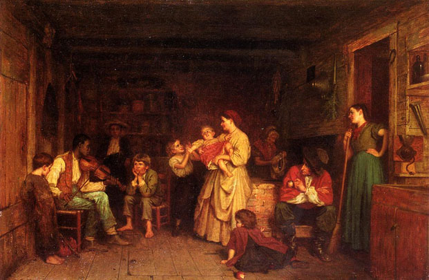 """Fiddling His Way""  (Eastman Johnson, 1866) Black fiddler entertains a rural white family"