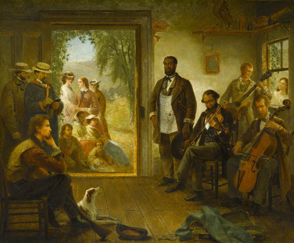 """The Musicale, Barber Shop"" Integrated musical ensemble in a barber shop Trenton Falls, New York (Thomas Hicks, 1866)"