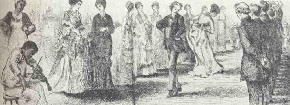 """The Virginia Reel"" ( Harper's Weekly , 1875) Black fiddler provides music for a Virginia Reel at an antebellum ball in the 1850s"