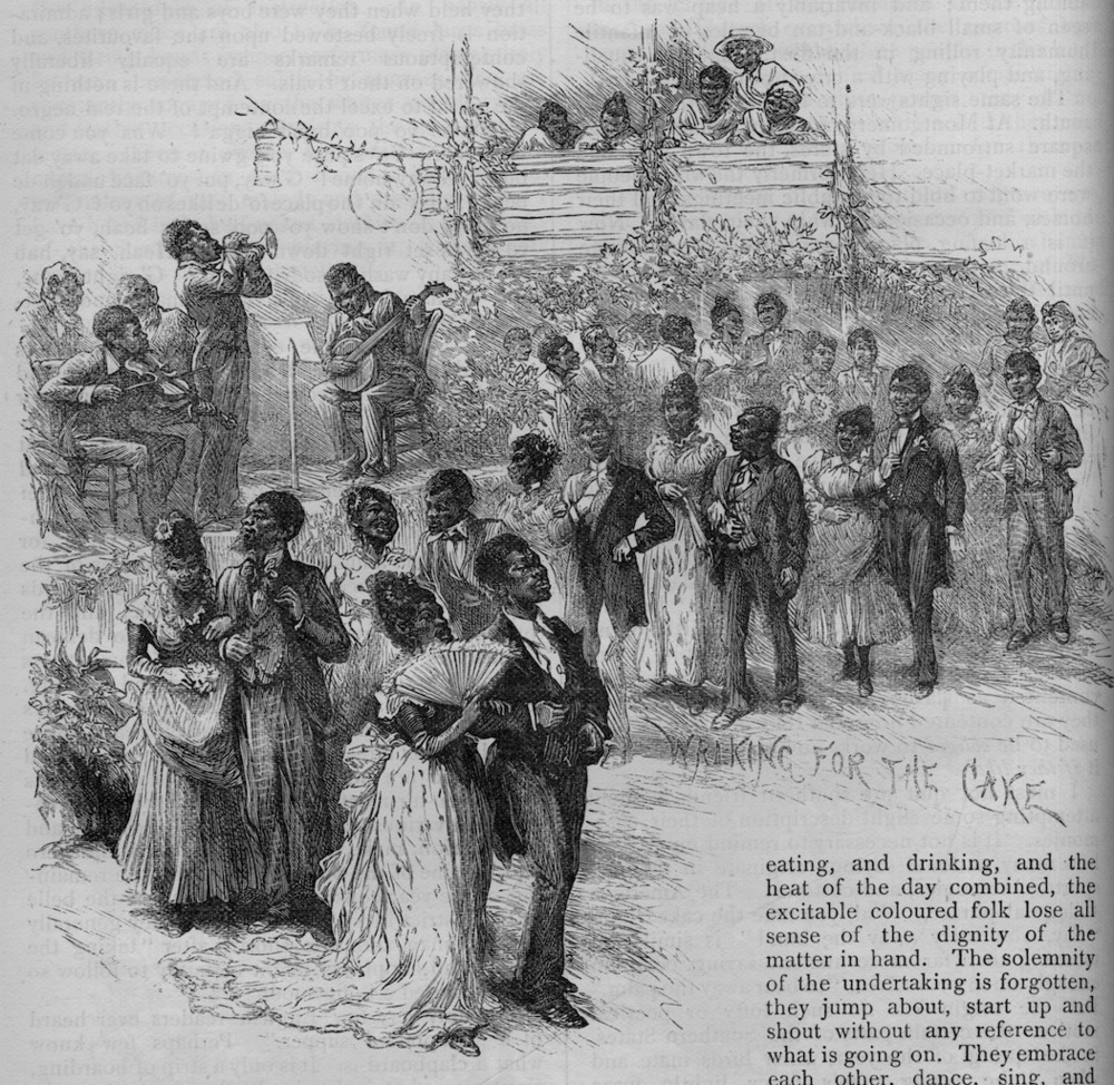 """Walking for the Cake"" – African American cakewalk (Leisure Hour 38, 1889)  Step Dancing (buckdancing, flatfooting, and clogging)"