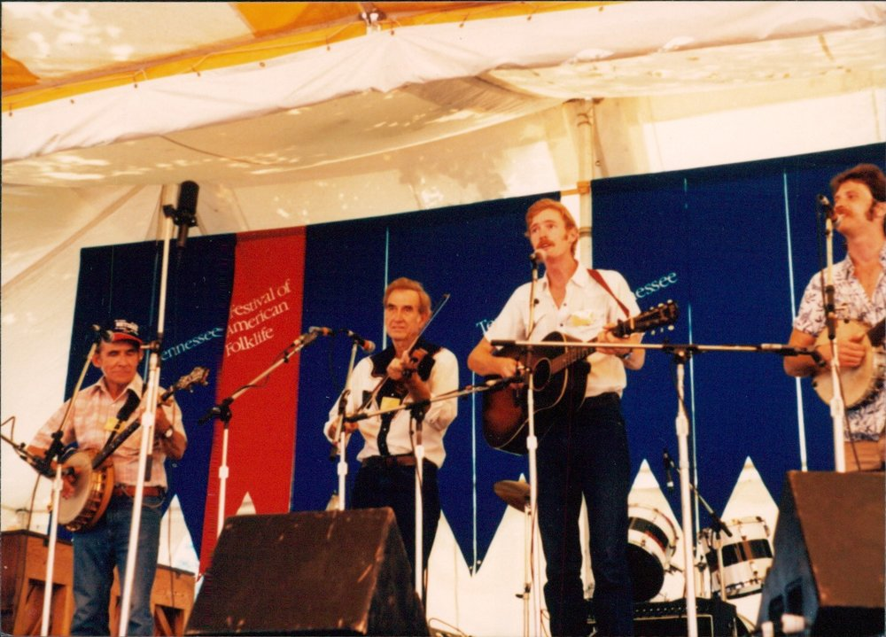 With Will Keys, Ralph Blizard, and Gordy Hinners at the 1986 Smithsonian Folklife Festival.