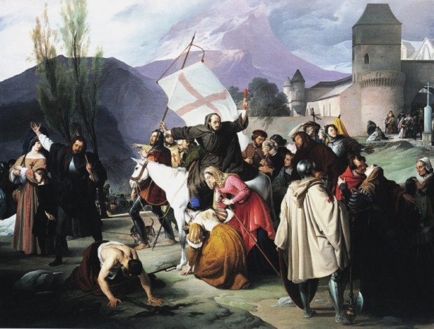 5. Francisco Hayez, Peter the Hermit riding a white mule with a crucifix in his hand and circulating through the cities and villages preaching the Crusade