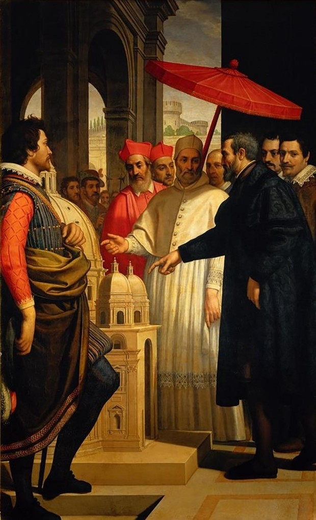 Domenico Cresti, Michelangelo Presenting the Model for the Completion of St Peter's to Pope Pius IV