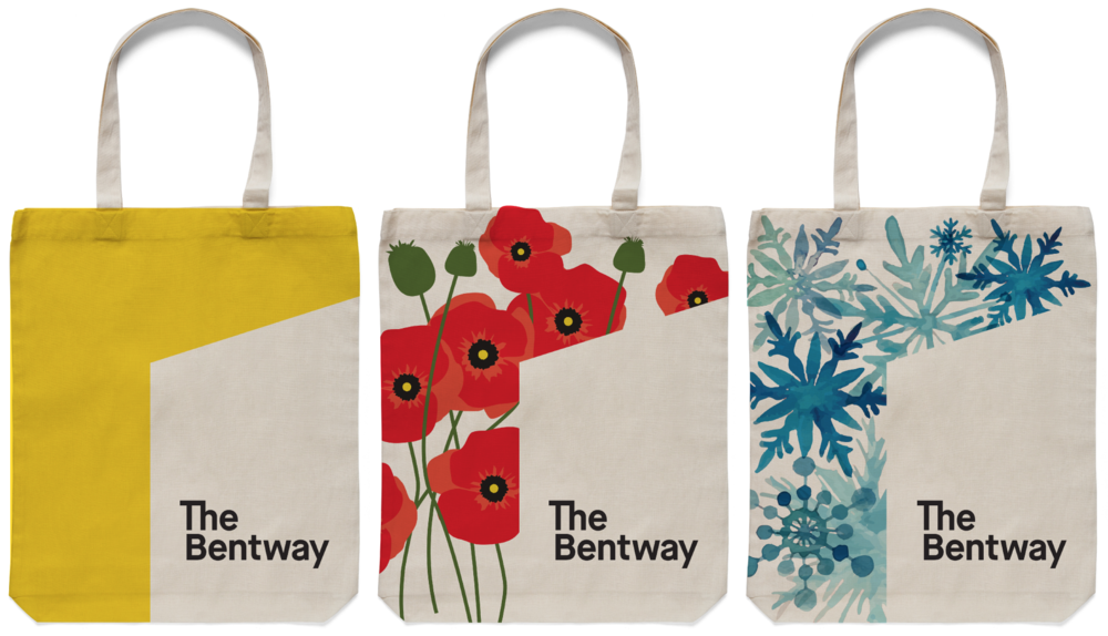 Mock-up of Bentway branded tote bags