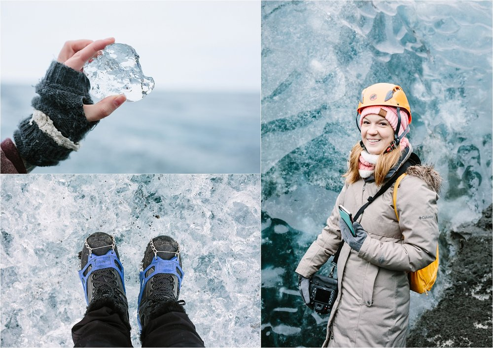 From our glacier hike at Vatnajökull National Park. Misti's hand, my feet, and Kirsten in front of some ice!
