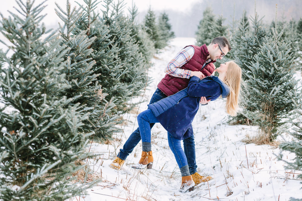 Joey + Kelly's Engagement Session at the Christmas Tree Farm in New Castle, PA