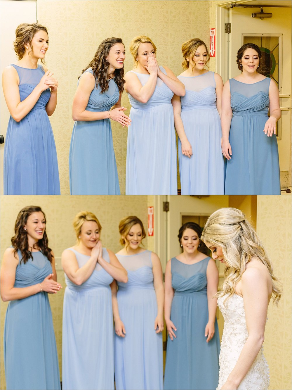 "We did a ""first look"" with the bridesmaids seeing Nicole in her dress and it was so sweet!"