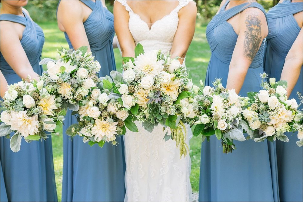 Slate blue and beautiful blooms. Jess did a great job choosing all of her wedding details.