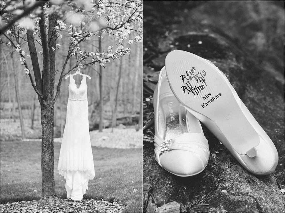 """Dana wins for another one of my favorite details of the year: Harry Potter wedding shoes! Their cake topper also said """"always."""" #yes"""