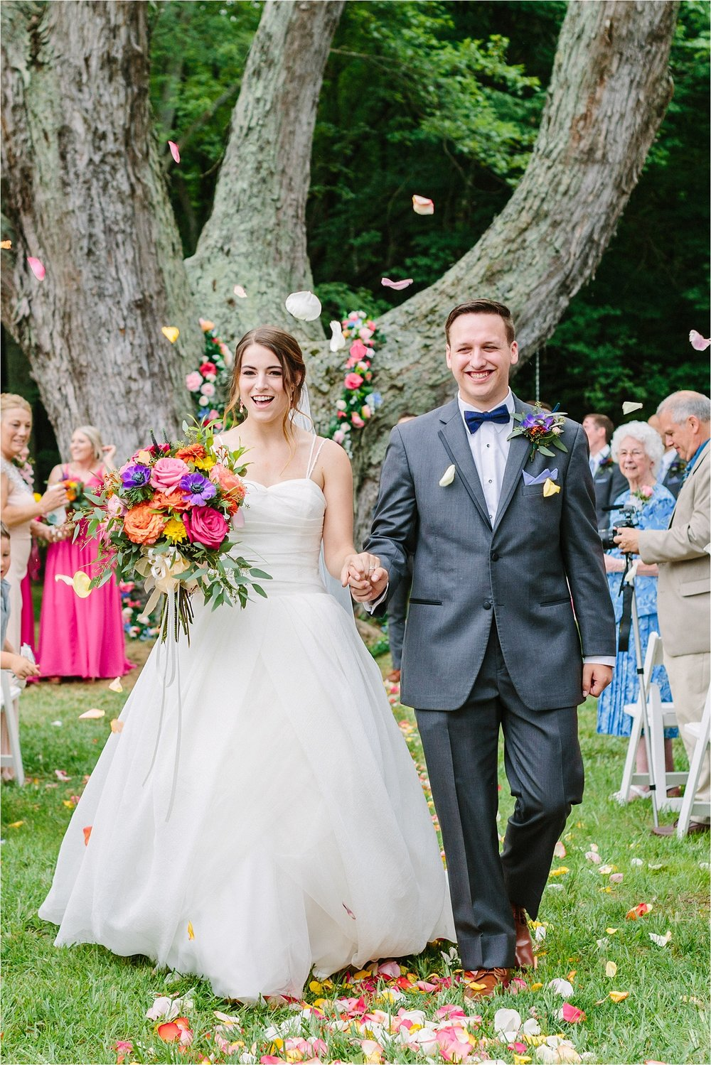 They had a backyard wedding under a giant tree and it was ridiculously sweet.