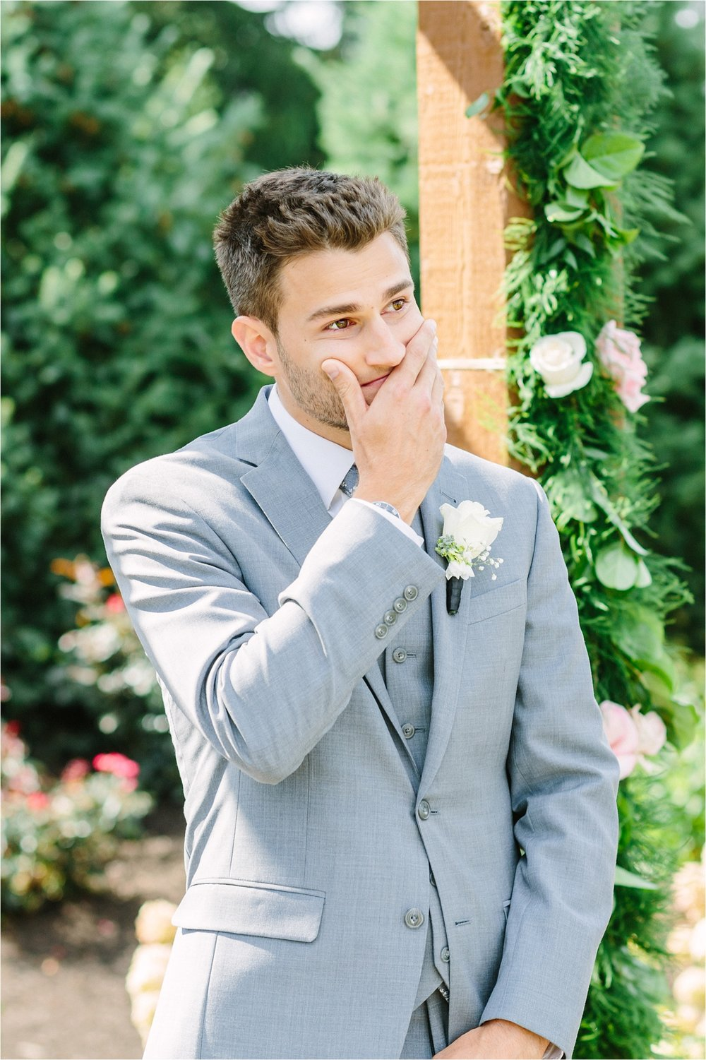 Alex had the best and sweetest reaction to seeing his bride walk down the aisle.