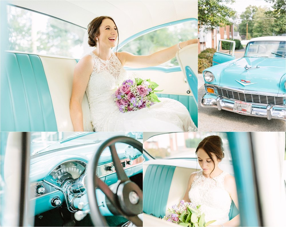 A ride in a classic blue Chevy for a beautiful bride.