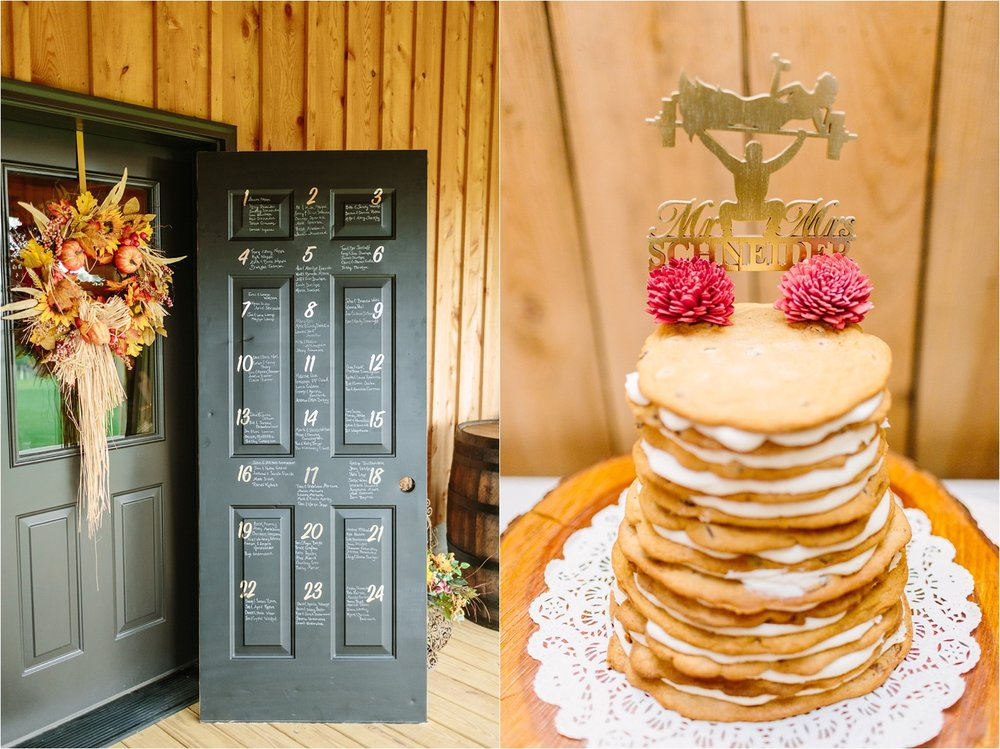 A few reception details I loved: guest list door & their fitness cake topper.