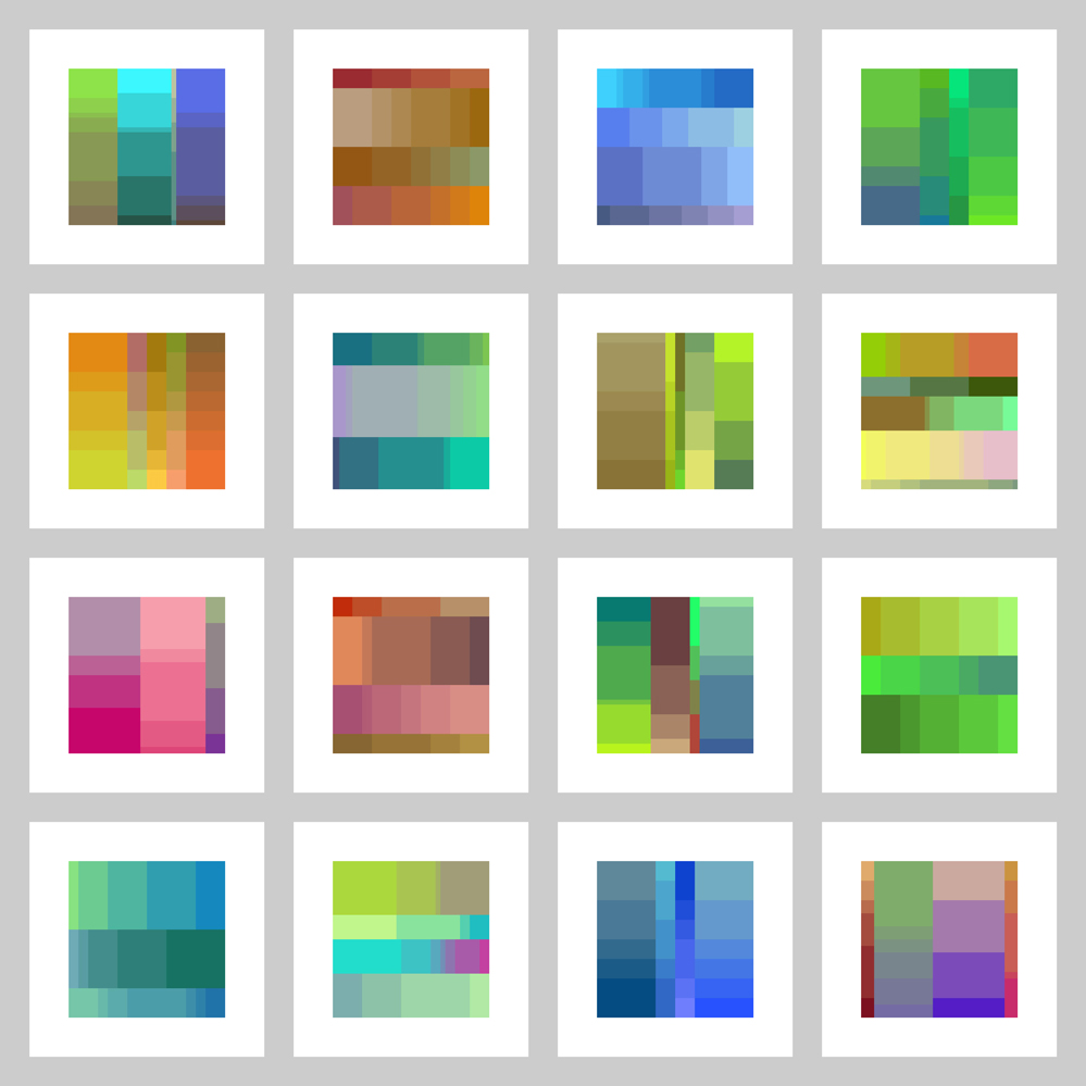 Sample color palette prints generated with Processing.