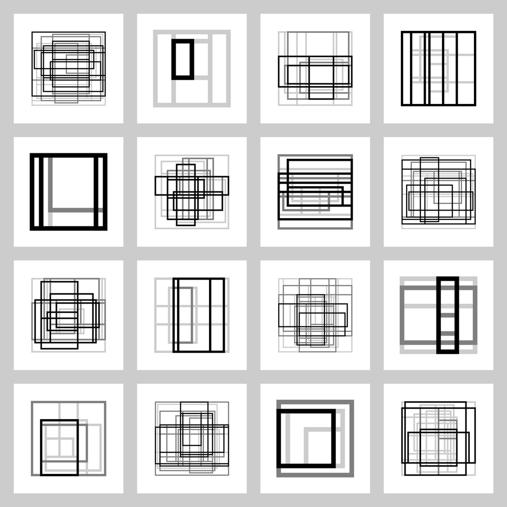 Sample rectangle study prints generated with Processing.