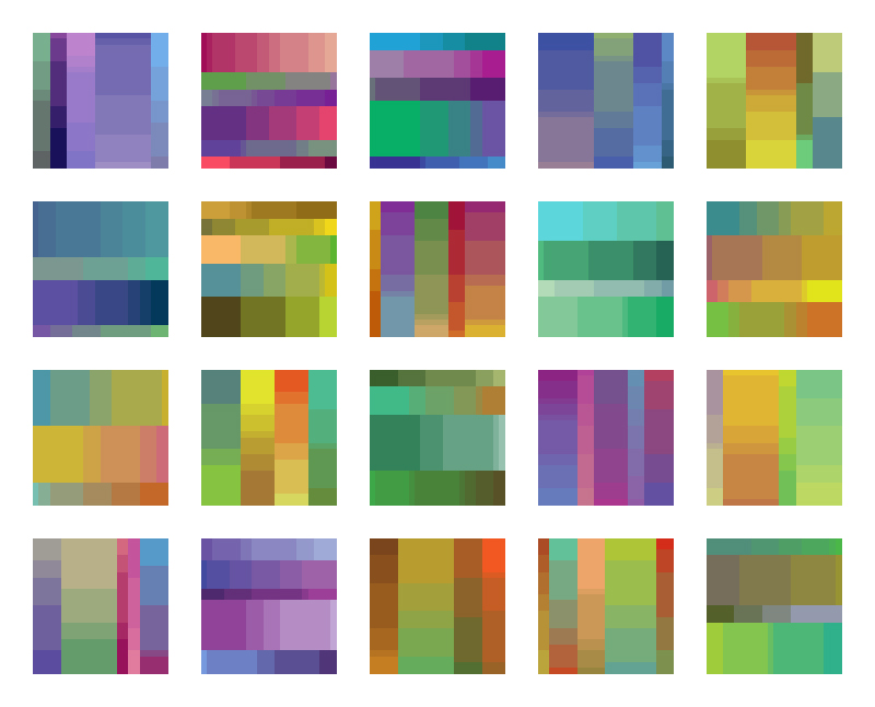 Color Palettes 41-60 - Final Candidates   Here are the final candidates for color palettes 41-60. I'm working on officially updating my portfolio site to include these, as well as rectangle studies 41-60. Stay tuned!