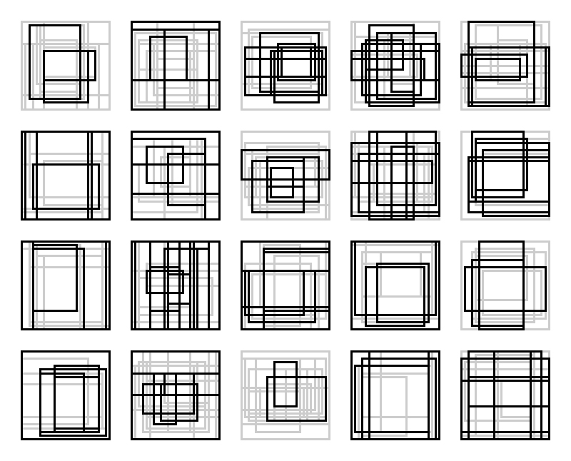 Rectangle Studies 41-60 - Final Candidates Here are the final candidates for rectangle studies 41-60. I like how these turned out. I think they have more complexity than any of my previous attempts. As soon as I decide what scale to print, I'll get them up on my portfolio site.