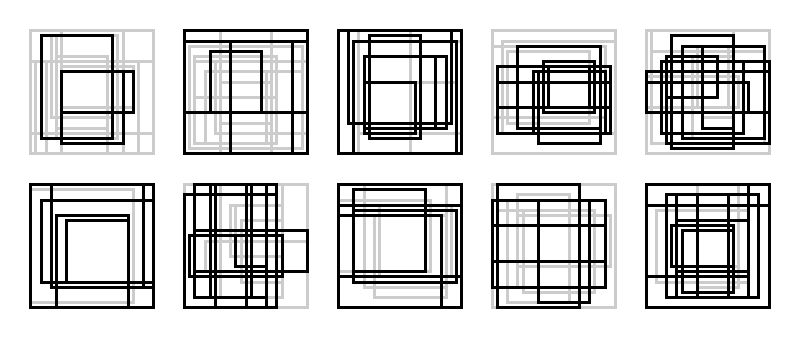 Rectangle Studies 41-50 - First Candidates I've decided to officially move forward with the larger format rectangle studies. I'm keeping the square format and also limiting the value choices to light gray and black. These are the first ten candidates. I'm very pleased with how several of these turned out, and will continue production until I think I can choose 10 final candidates. Which of these is working / not working?