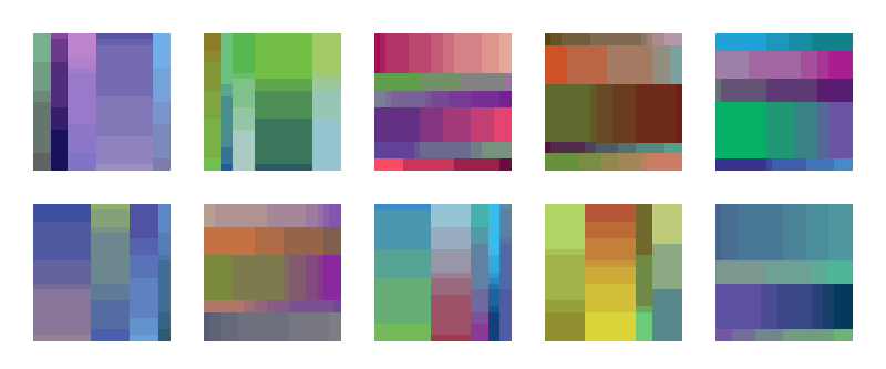 Color Palettes 41-50 - First Drafts   I've been on radio silence for the last month or so working out a new framework for my color palette series. These are the first results. There are a number of random values within preset ranges specifying the composition (vertical/horizontal orientation, column/row size, and individual rectangle length/width). These ranges are adjustable and can be modified to generate different underlying grids in future palettes. Then random parent colors are chosen for the endpoints of each row/column, and a color interval of the appropriate number of steps is created in between. I've also assigned a bias percentage to the parent colors which pushes each color selection towards a single, randomly selected hue for each palette. This is something that can be adjusted in future palettes, right now I have it set for a 30% bias.   Feedback on individual palettes or the new process in general would be greatly appreciated!
