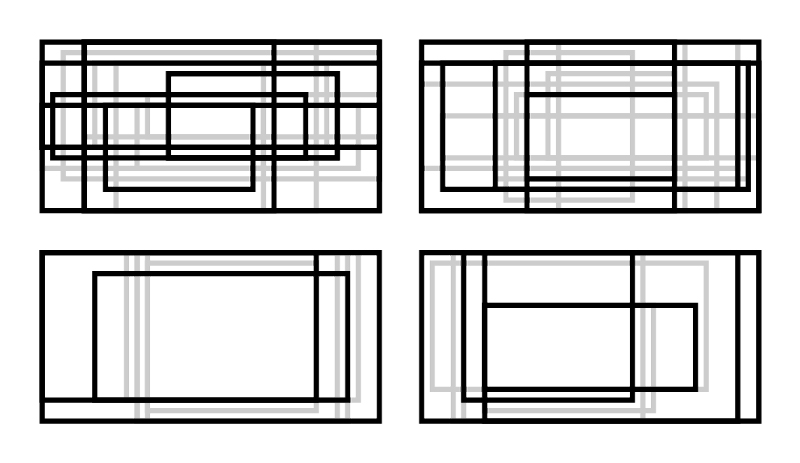 Horizontal Rectangle Studies I've been working on adjusting the parameters for my next set of rectangle studies to accommodate a horizontal format rather than a square format. These are the first results.  I've increased the total possible number of rectangles since the format is larger, and I also increased the range for rectangle width and horizontal offset. Because there is more overall visual activity, I also reduced the value choices to just light gray and black. These may not end up being final candidates, but I think they do a good job of demonstrating the upper and lower limits of the framework. Let me know your thoughts.