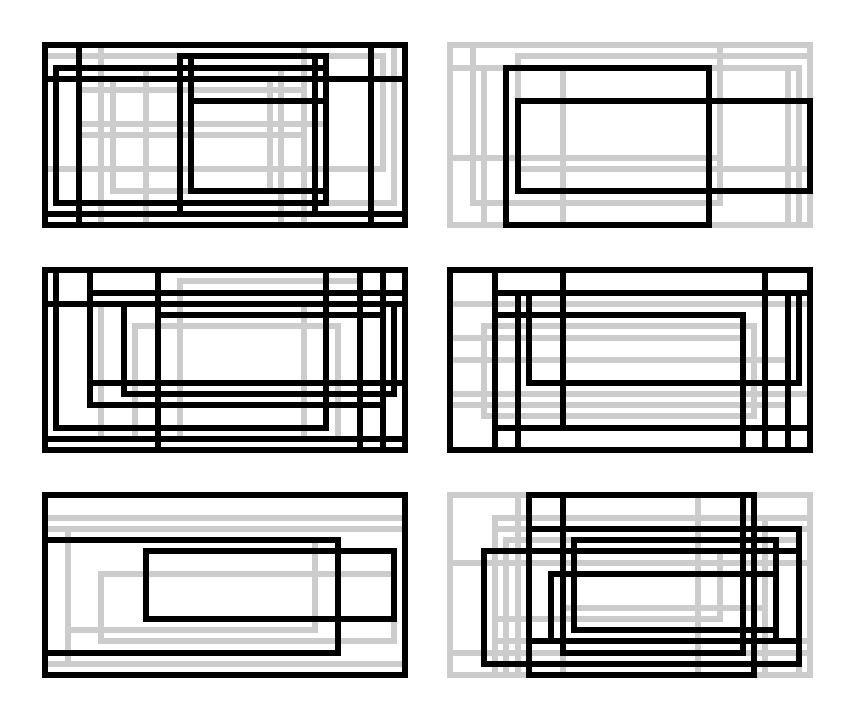 MORE HORIZONTAL RECTANGLE STUDIES I finalized the framework for the horizontally-formatted rectangle studies. These are the official first 6 drafts. I like how they appear as a series, but I'm still not sure about their effectiveness as individual pieces. I don't know if should continue creating drafts to have more examples for consideration, or if I should put this on hold and test a new direction. I feel like I'm at a crossroads, so any feedback would be greatly appreciated.