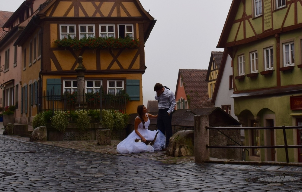 Funny story for our last picture – we were in Rothenburg taking pictures early in the morning and this cat would not leave us alone! He kept popping into all of our pictures and playing with my skirt, it was so funny!!