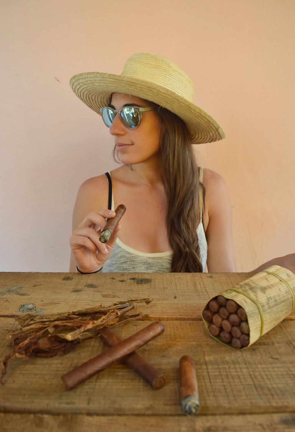 Smoking just rolled cigars  |  Viñales, Cuba